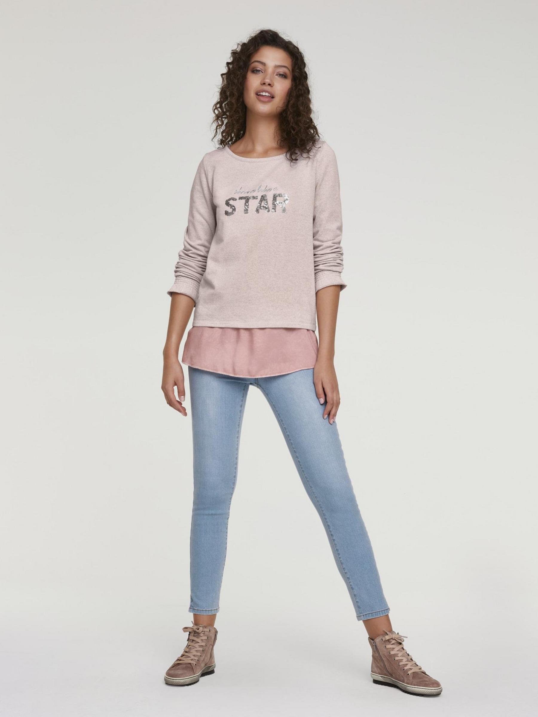 Sweatshirt mit Paillettenstickerei mit Glanzeffekt und Paillettenschrift Gr. 48