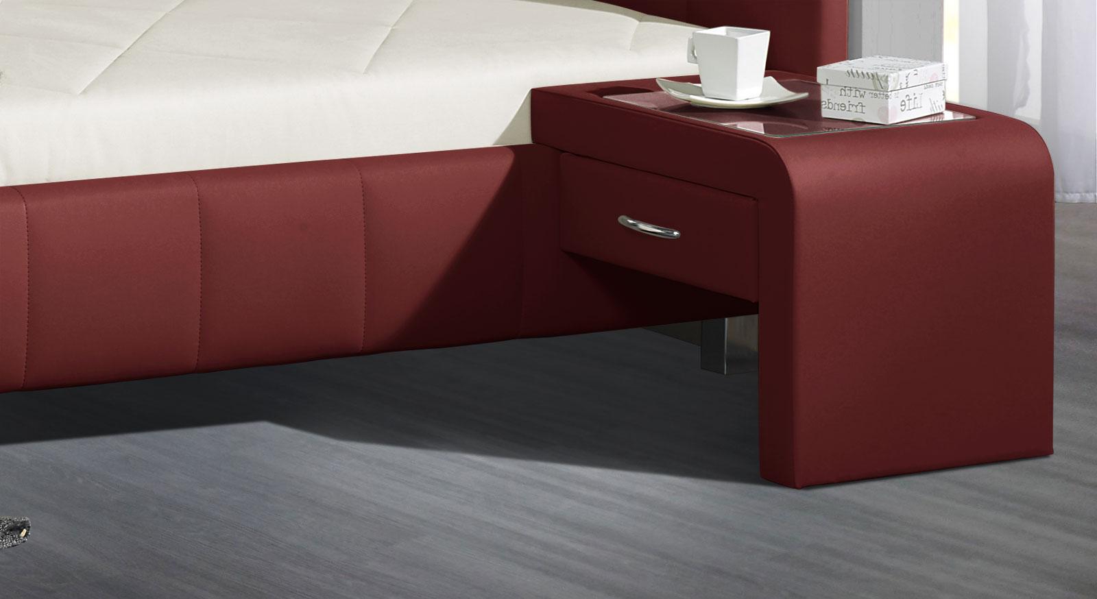 Einhängekonsole mit Schublade Kunstleder rot