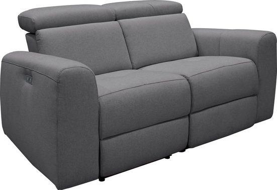 2-Sitzer Sofa Sentrano mit elektrischer Relaxfunktion mit USB-Anschluß in Struktur fein
