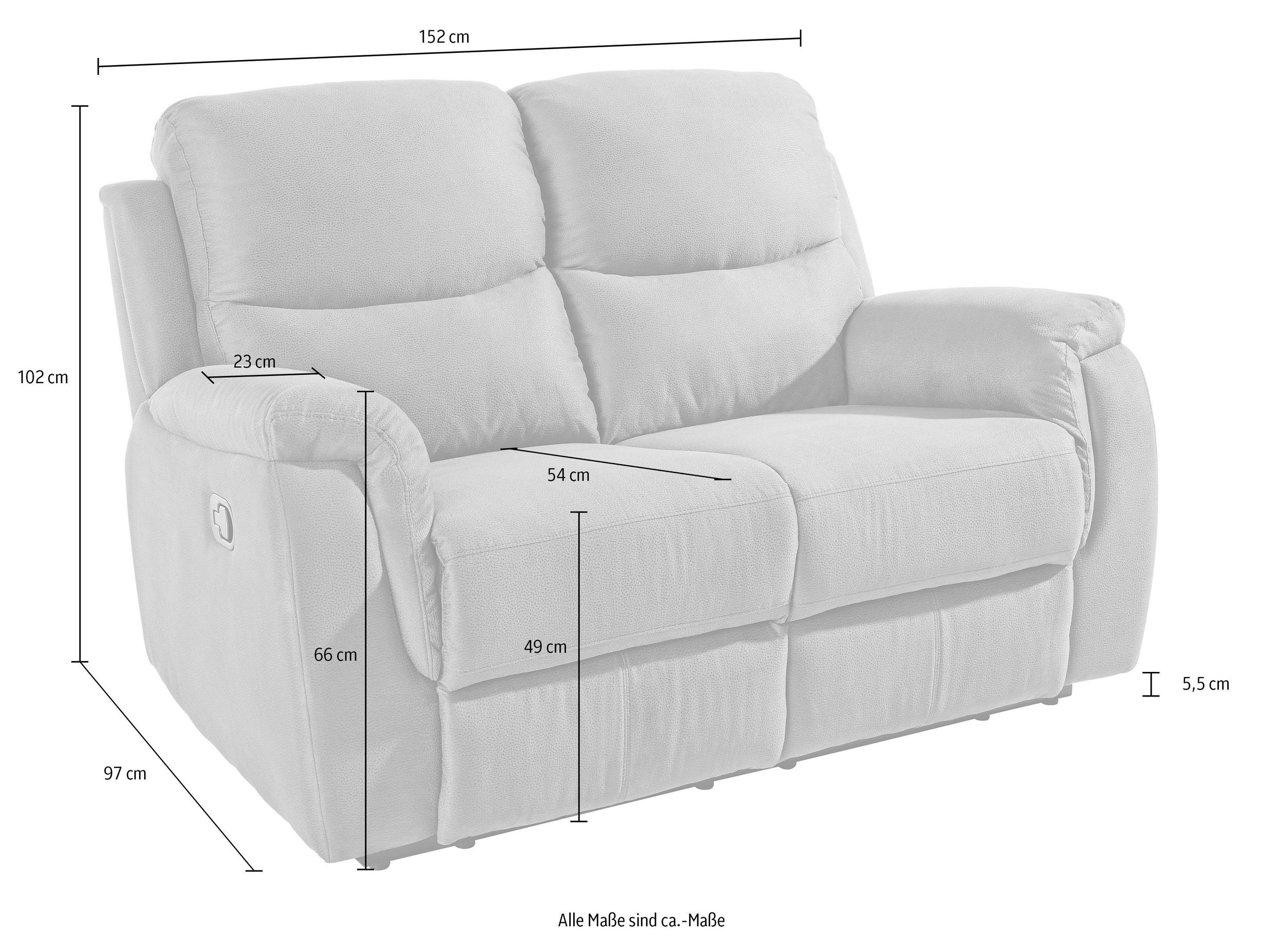 2-Sitzer Sofa Diana mit Relaxfunktion