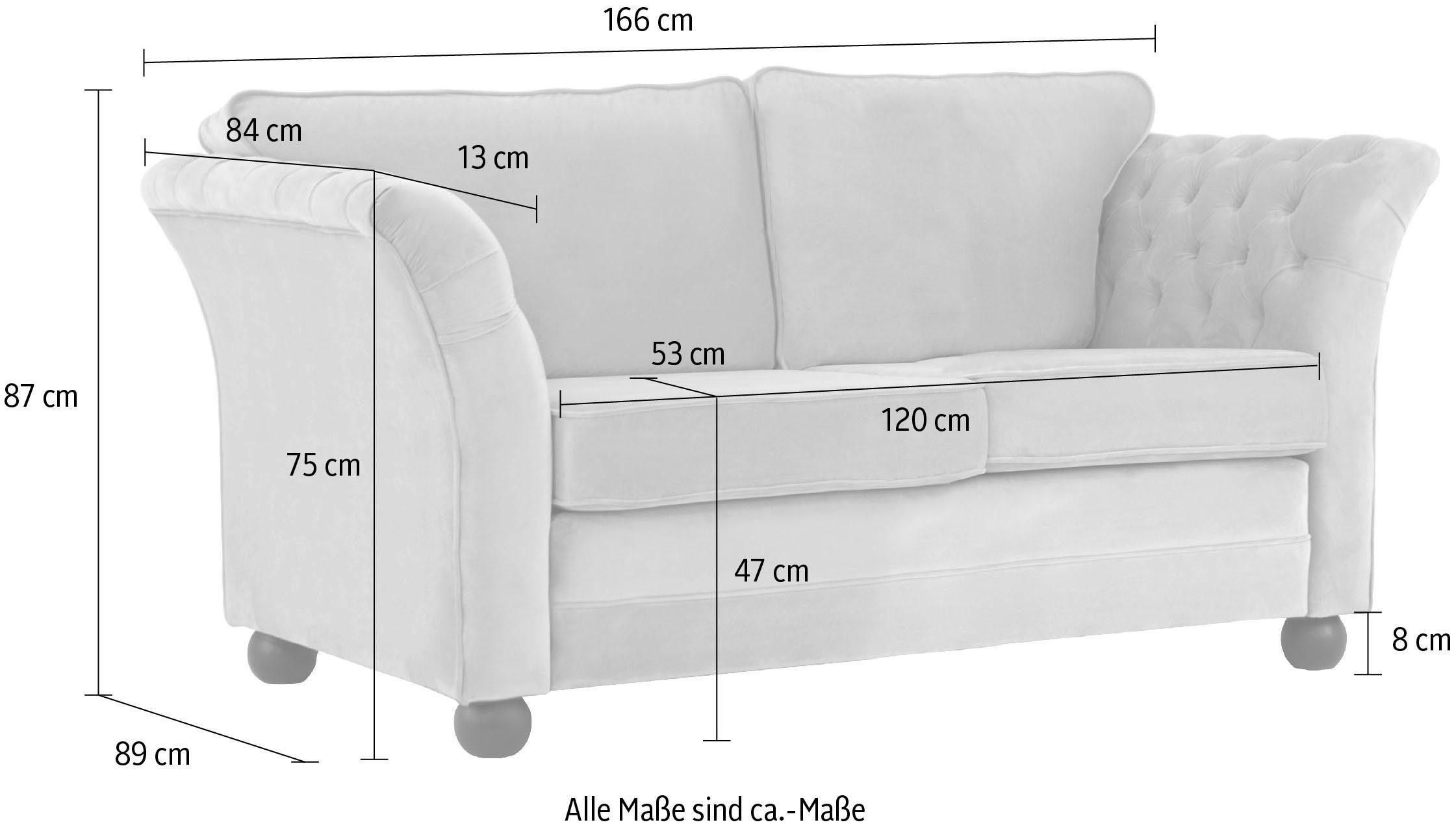 Chesterfield 2-Sitzer Sofa Pajero in Samtoptik