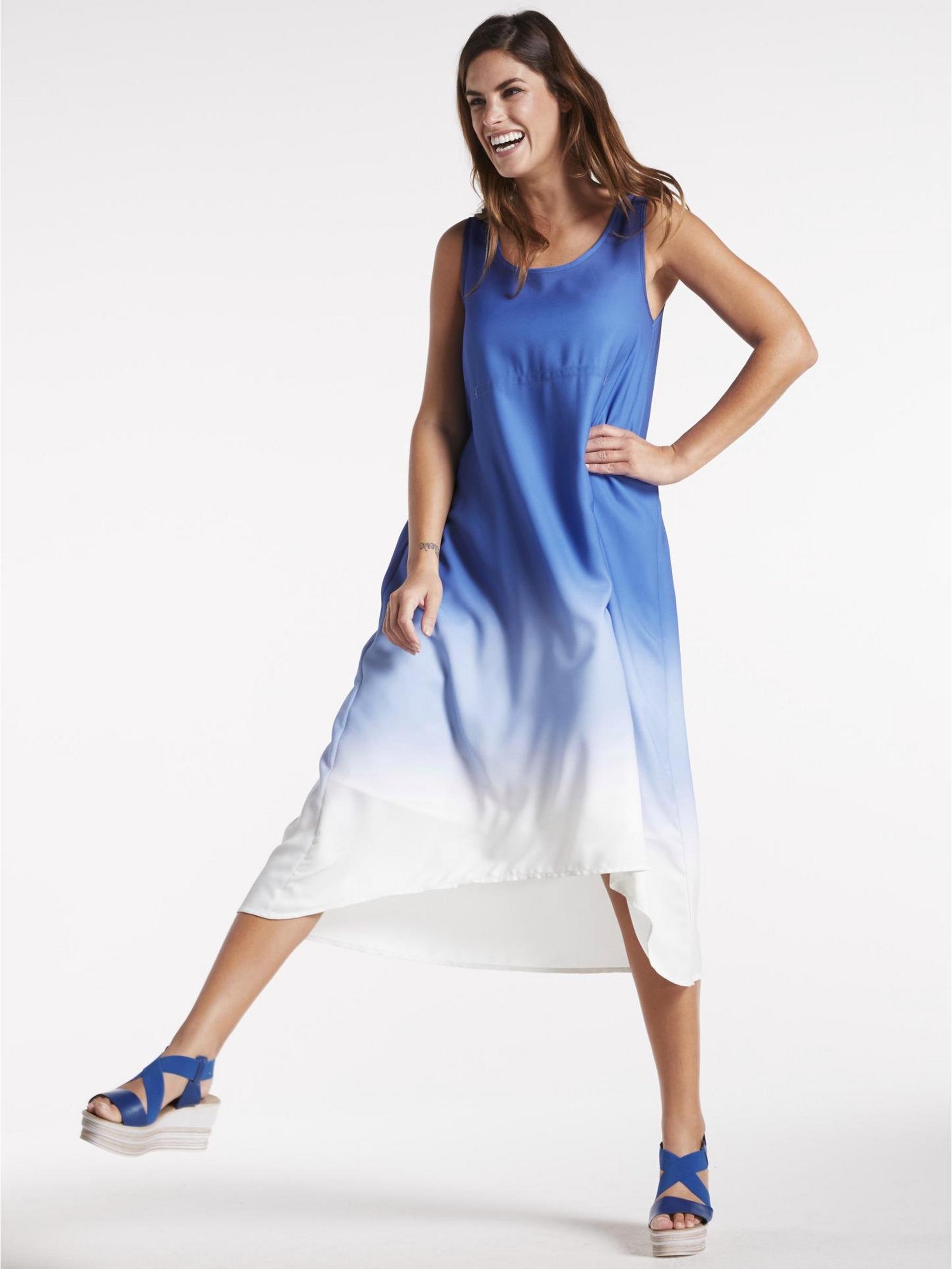 Kleid mit seitlicher Schnürung im Batik-Look Gr. 48